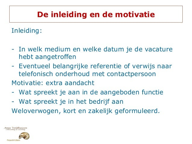 motivatiebrief inleiding Sollicitatietraining motivatiebrief inleiding