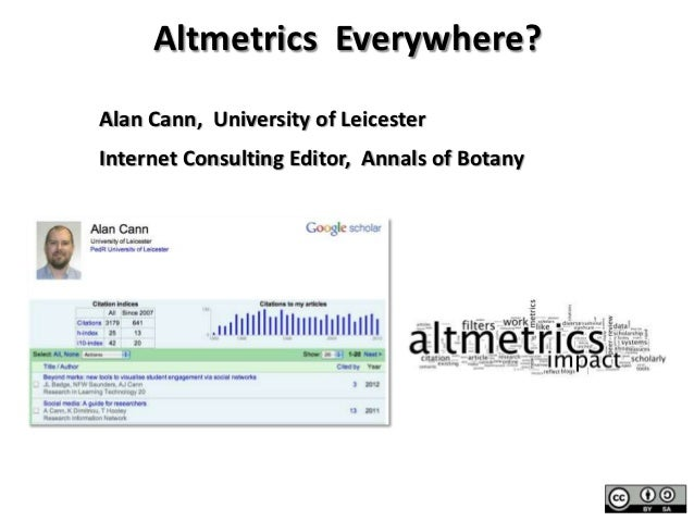 Altmetrics Everywhere?Alan Cann, University of LeicesterInternet Consulting Editor, Annals of Botanybit.ly/AJCann