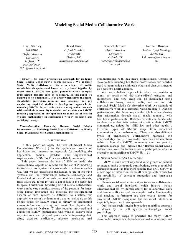 Modeling Social Media Collaborative Work Bazil Stanley Solomon Oxford Brookes University Oxford, UK bazil.solomon- 2011@br...