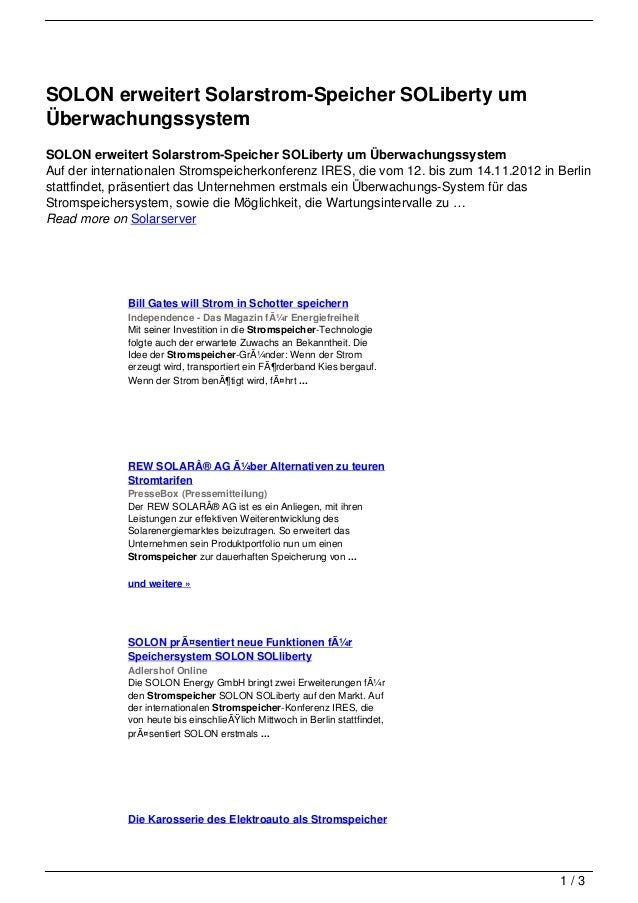 SOLON erweitert Solarstrom-Speicher SOLiberty umÜberwachungssystemSOLON erweitert Solarstrom-Speicher SOLiberty um Überwac...