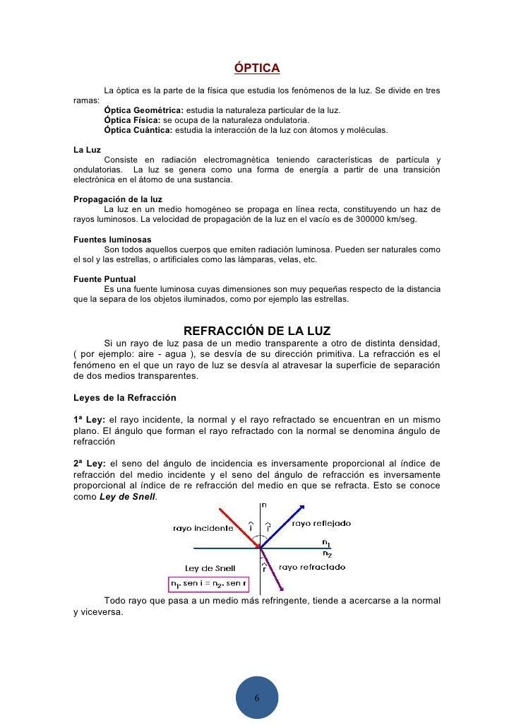 ÓPTICA          La óptica es la parte de la física que estudia los fenómenos de la luz. Se divide en tres ramas:          ...