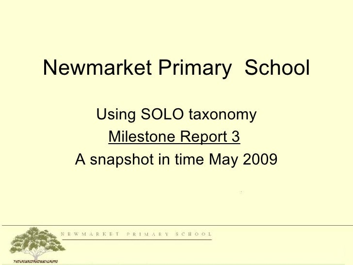 Newmarket Primary School     Using SOLO taxonomy      Milestone Report 3  A snapshot in time May 2009