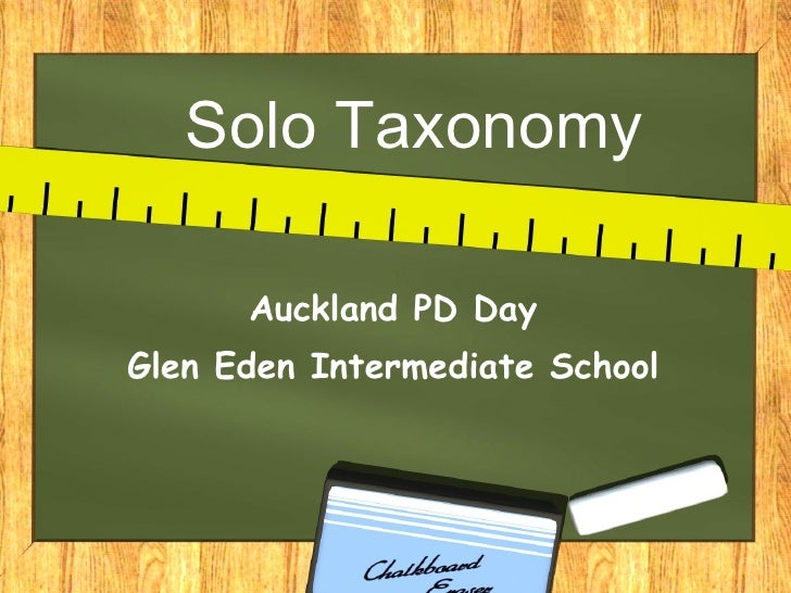 Solo Taxonomy Auckland PD Day Glen Eden Intermediate School