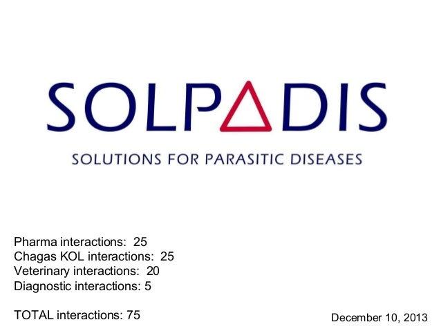 Pharma interactions: 25 Chagas KOL interactions: 25 Veterinary interactions: 20 Diagnostic interactions: 5 TOTAL interacti...