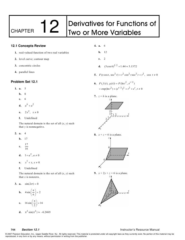Derivatives for Functions of       CHAPTER                        12                               Two or More Variables  ...