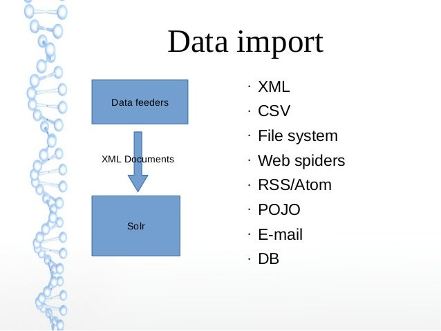 Data import Solr Data feeders XML Documents ● XML ● CSV ● File system ● Web spiders ● RSS/Atom ● POJO ● E-mail ● DB