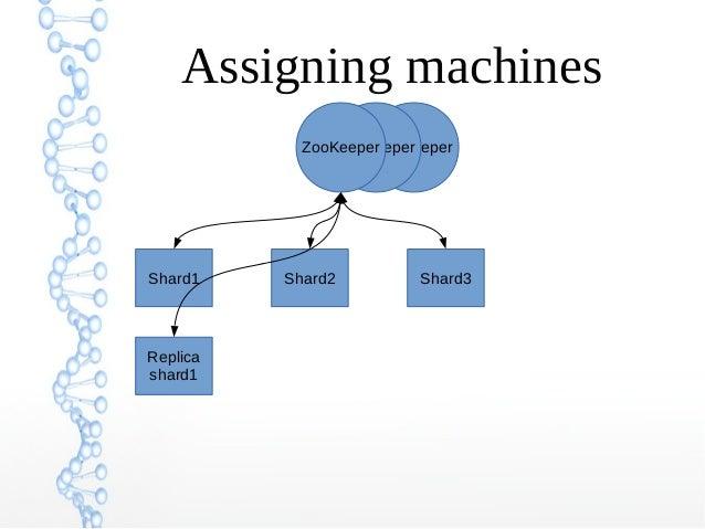 ZooKeeperZooKeeperZooKeeper Assigning machines Shard1 Shard2 Shard3 Replica shard1