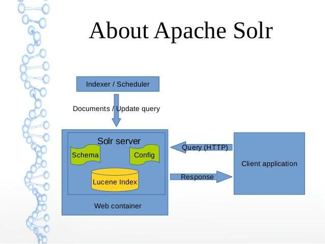 About Apache Solr Indexer / Scheduler Lucene Index Solr server Schema Config Documents / Update query Client application Q...