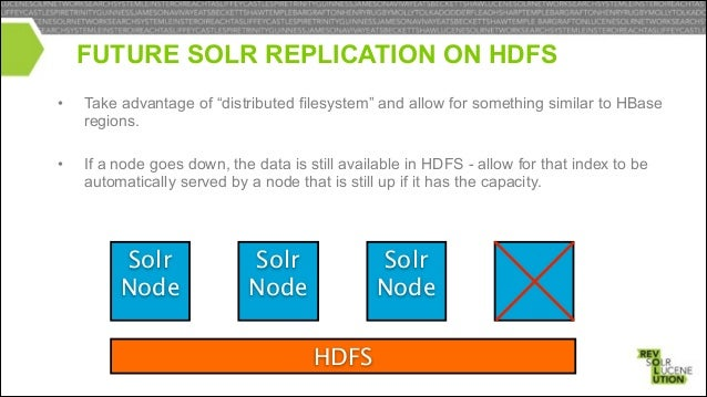 • Leader reads and writes index files to HDFS • Replicas only read from HDFS, write to /dev/null  Leader  Replica  HDFS  R...
