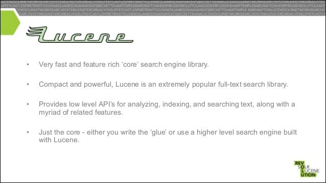 """• Solr (pronounced """"solar"""") is an open source enterprise search platform from the Apache Lucene project. Its major feature..."""