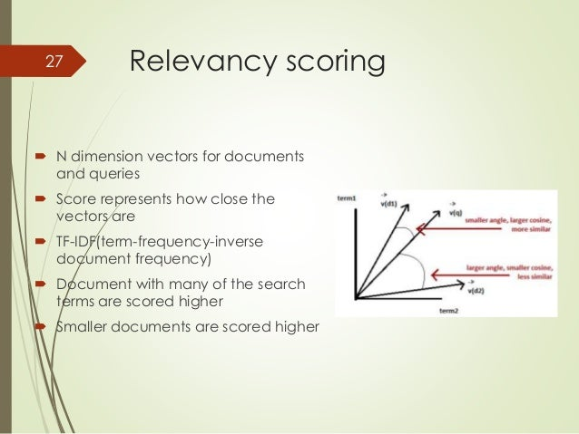 Relevancy scoring  27   N dimension vectors for documents  and queries   Score represents how close the  vectors are   ...