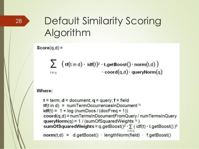 Default Similarity Scoring  Algorithm  28