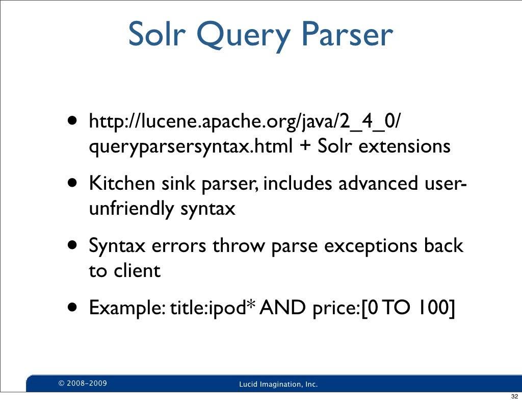 Solr query parser httpluceneapachejava240 baditri Gallery