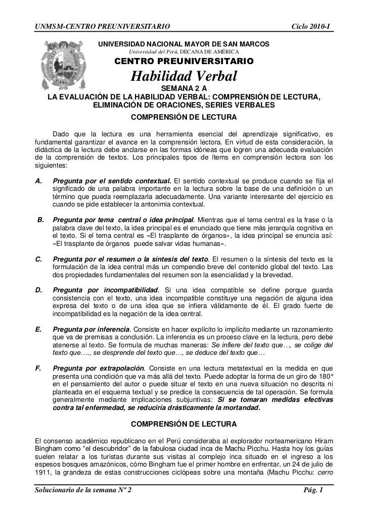 UNMSM-CENTRO PREUNIVERSITARIO                                                          Ciclo 2010-I                     UN...