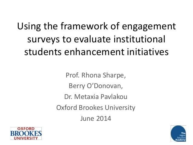 Using the framework of engagement surveys to evaluate institutional students enhancement initiatives Prof. Rhona Sharpe, B...