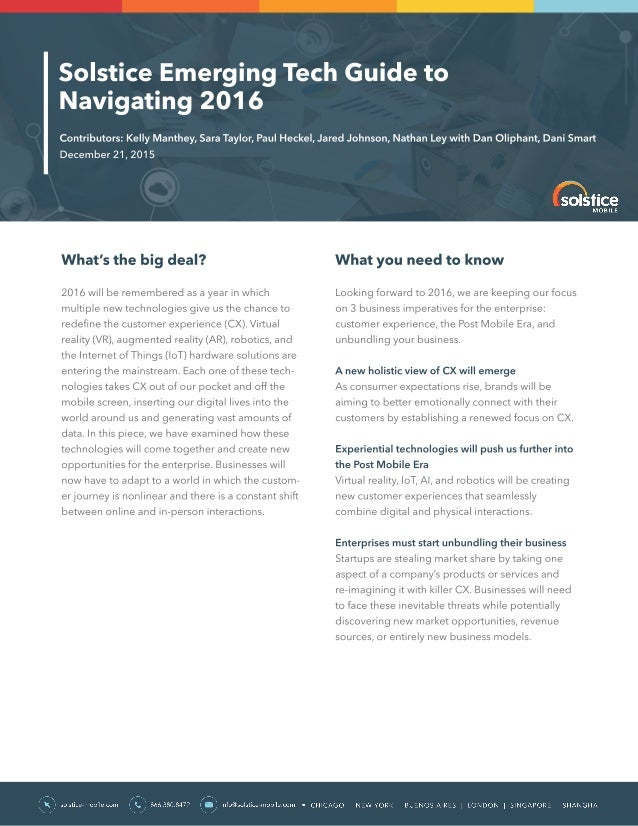 Emerging Tech Guide to Navigating 2016