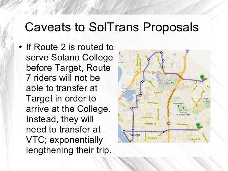 Proposal for SolTrans Service Changes