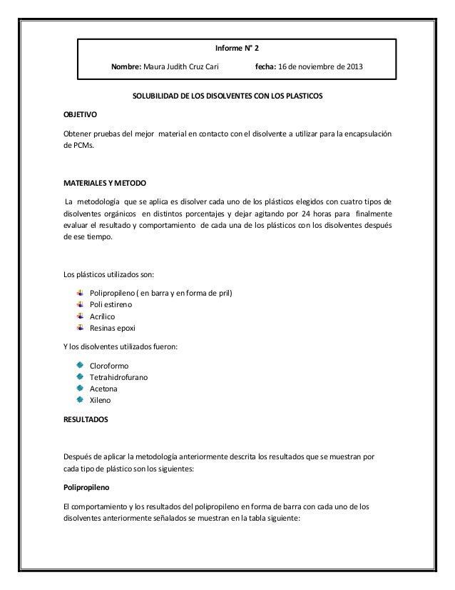 SOLUBILIDAD DE LOS DISOLVENTES CON LOS PLASTICOS OBJETIVO Obtener pruebas del mejor material en contacto con el disolvente...