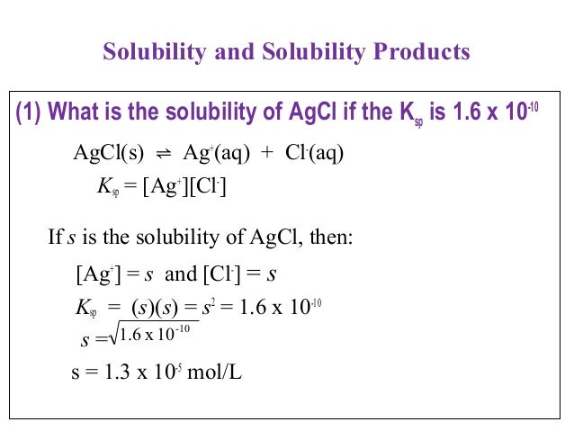 solubility product Ksp is really just an equilibrium constant (keq), but it's for a solid dissolving in water this is special, since all of the reactants are solid, and so the.