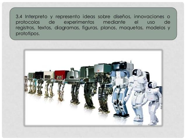 3.4 Interpreto y represento ideas sobre diseños, innovaciones o protocolos de experimentos mediante el uso de registros, t...