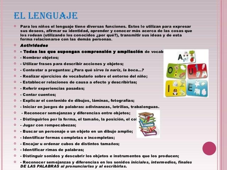 EL LENGUAJE <ul><li>Para los niños el lenguaje tiene diversas funciones. Estos lo utilizan para expresar sus deseos, afirm...