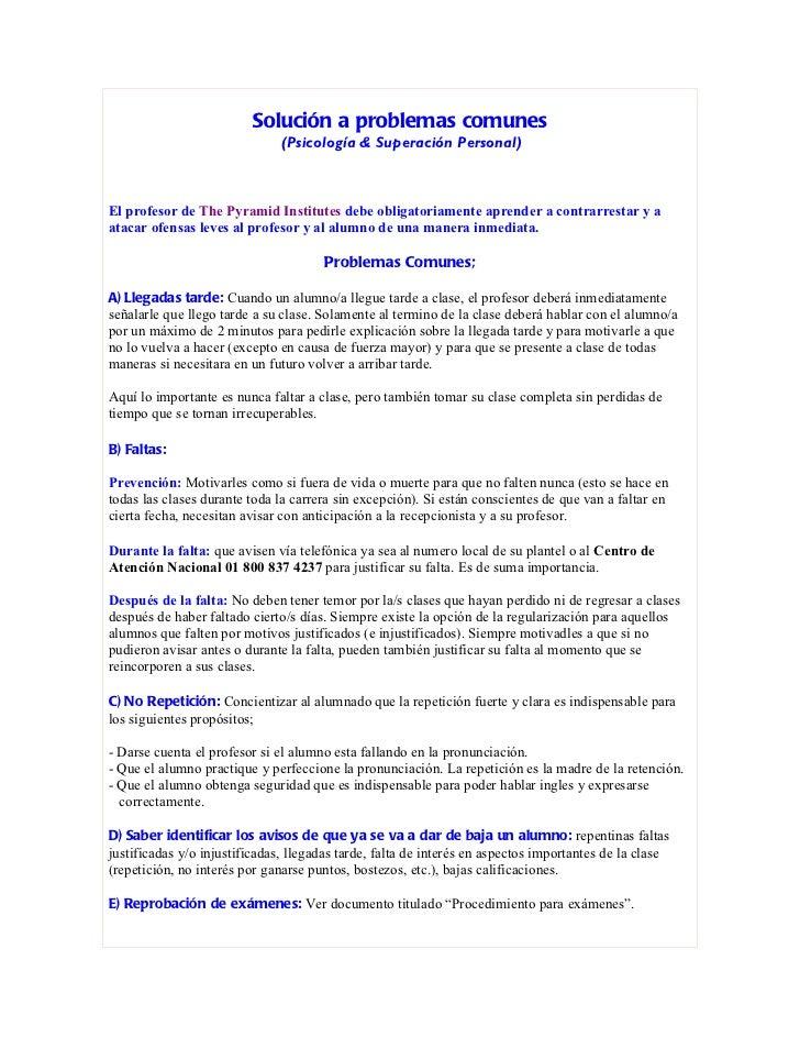 Solución a problemas comunes                               (Psicología & Superación Personal)El profesor de The Pyramid In...