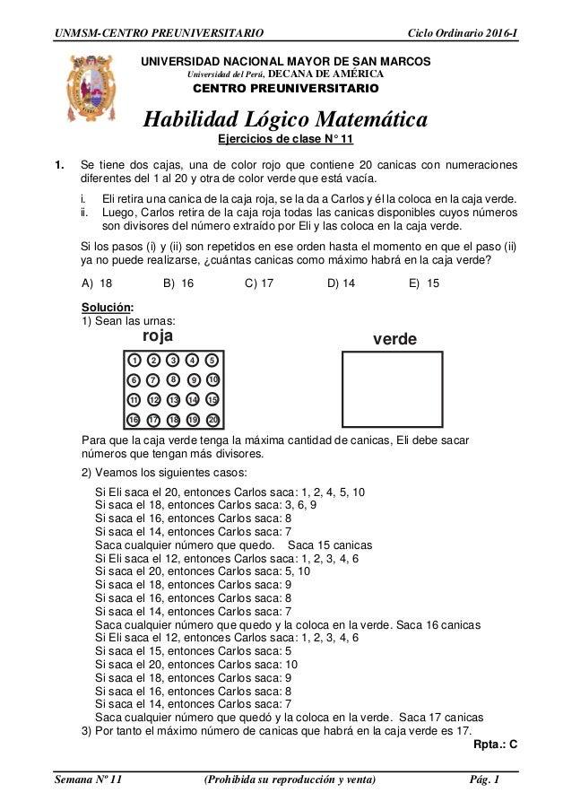 Solucionario PRE SAN MARCOS- Semana 11 Ciclo 2016