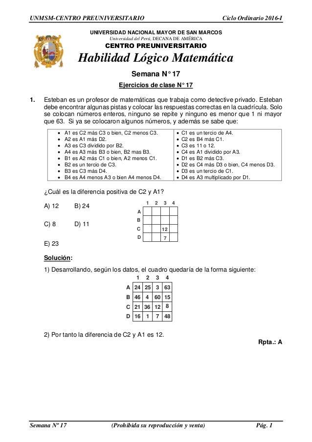 Solucionario PRE SAN MARCOS- Semana 17 Ciclo 2016 1