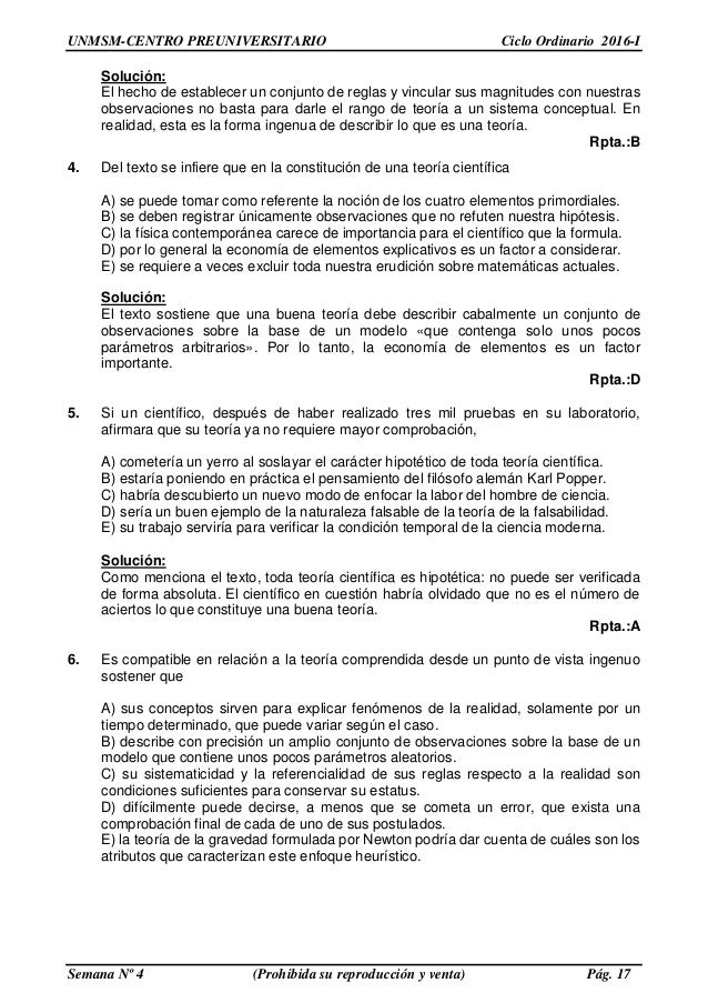Solucionario CEPRE SAN MARCOS - semana 4 ciclo ordinario 2016-1