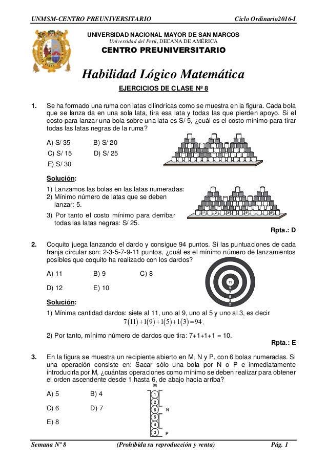 Solucionario PRE SAN MARCOS- semana 8 ciclo 2016 1