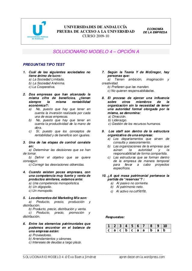 Ex 225 Menes Resueltos Selectividad Econom 237 A De La Empresa