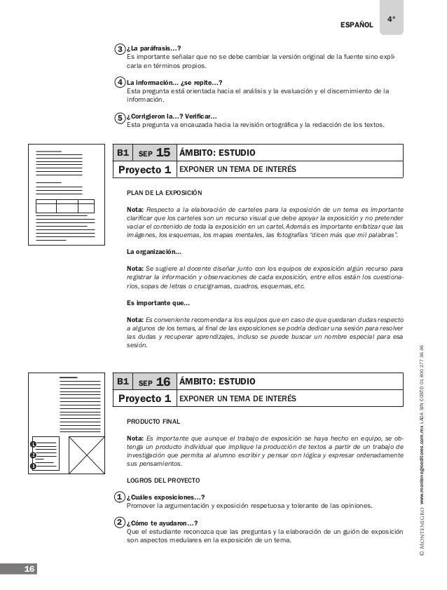 ESPAÑOL 18 4° www.montenegroeditores.com.mxladasincosto018002773636 A buscar Nota: Se recomienda proponer a los alumnos co...