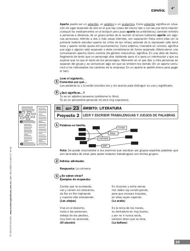ESPAÑOL 21 4° www.montenegroeditores.com.mxladasincosto018002773636 LO QUE CONOZCO Ejemplos de respuesta: ¿Cómo explicaría...