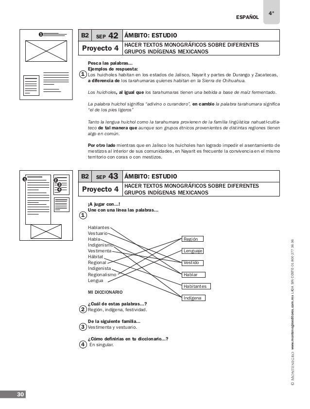 ESPAÑOL 32 4° www.montenegroeditores.com.mxladasincosto018002773636 9 10 B2 SEP 47 ÁMBITO: literatura Proyecto 5 preparar ...