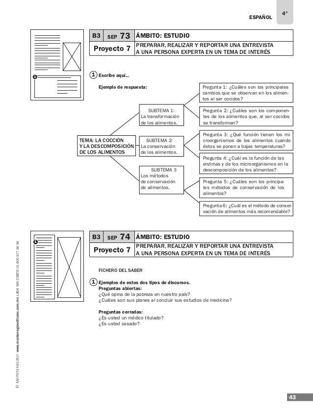 ESPAÑOL 45 4° www.montenegroeditores.com.mxladasincosto018002773636 B3 SEP 76 ÁMBITO: Estudio Proyecto 7 preparar, REALIZA...