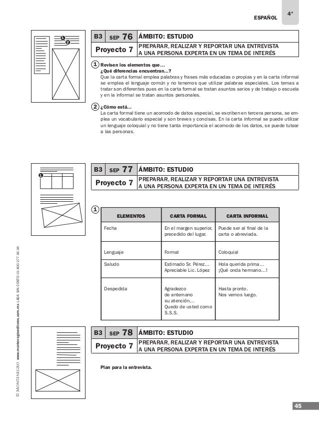 ESPAÑOL 47 4° www.montenegroeditores.com.mxladasincosto018002773636 4 3 5 6 logros del proyecto Ejemplos de respuesta: ¿Pa...