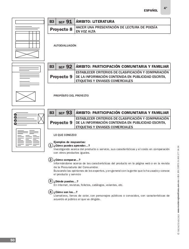 ESPAÑOL 52 4° www.montenegroeditores.com.mxladasincosto018002773636 Personas Colores Eslogan Otro texto Se dirige a Alimen...