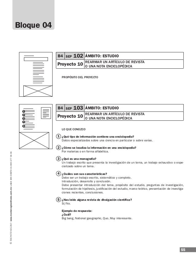 ESPAÑOL 57 4° www.montenegroeditores.com.mxladasincosto018002773636 B4 SEP 108 ÁMBITO: estudio Proyecto 10 rearmar un artí...