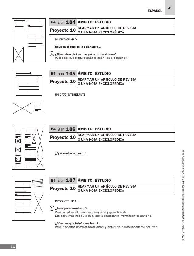 ESPAÑOL 58 4° www.montenegroeditores.com.mxladasincosto018002773636 Ejemplos de respuesta: ¿Qué temas...? El origen de la ...