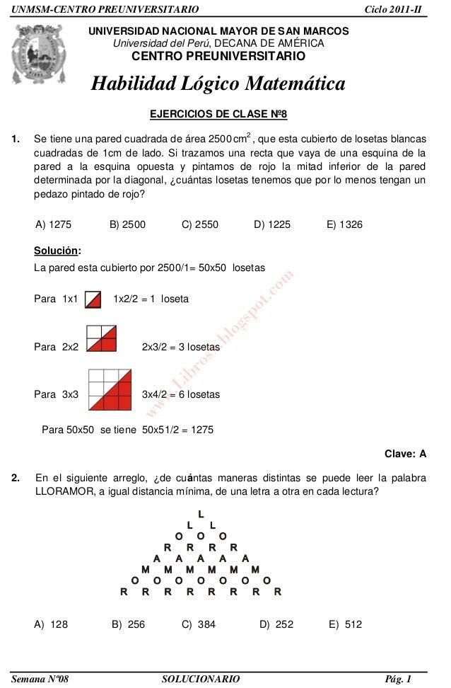 Solucionario – cepreunmsm – 2011 ii – boletín 8 – áreas academicas a,…