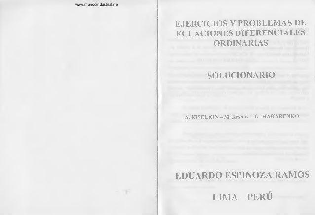 EJERCICIOS Y PROBLEMAS DE ECUACIONES DIFERENCIALES ORDINARIAS SOLUCIONARIO A. KISELION - M. Krsnov - G. MAKARENKO EDUARDO ...