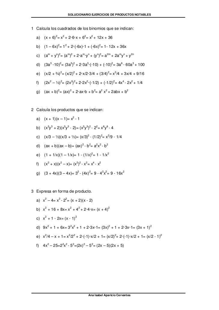 SOLUCIONARIO EJERCICIOS DE PRODUCTOS NOTABLES1 Calcula los cuadrados de los binomios que se indican:  a)   (x + 6)2= x2 + ...