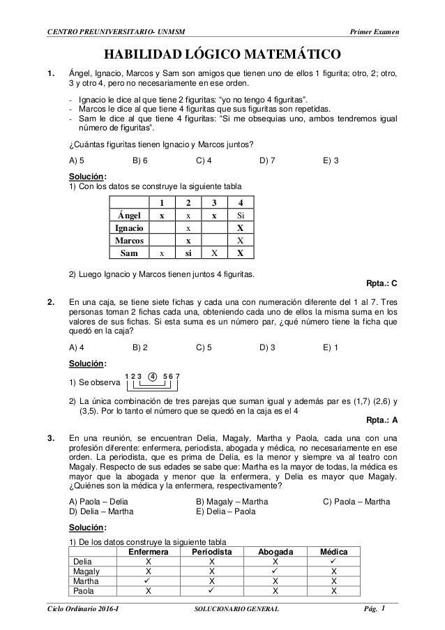 Solucionario del primer examen con ingreso directo de la PRE SAN MARC…