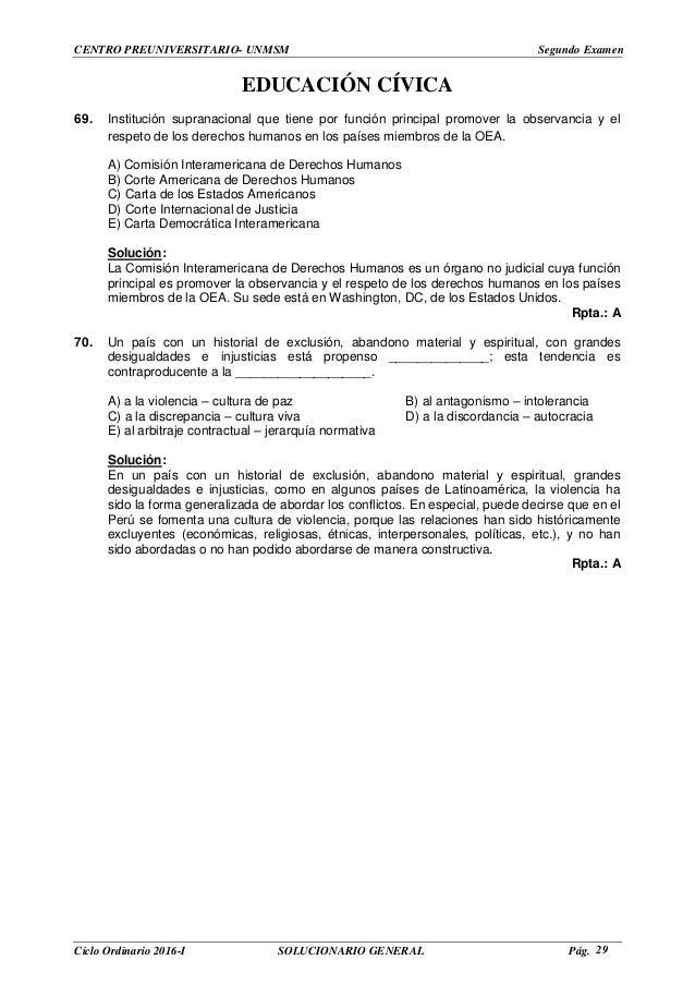 Solucionario del segundo exámen con ingreso directo de la PRE SAN MAR…