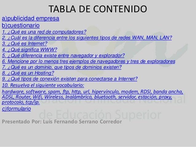 TABLA DE CONTENIDOa)publicidad empresab)cuestionario1. ¿Qué es una red de computadores?2. ¿Cuál es la diferencia entre los...