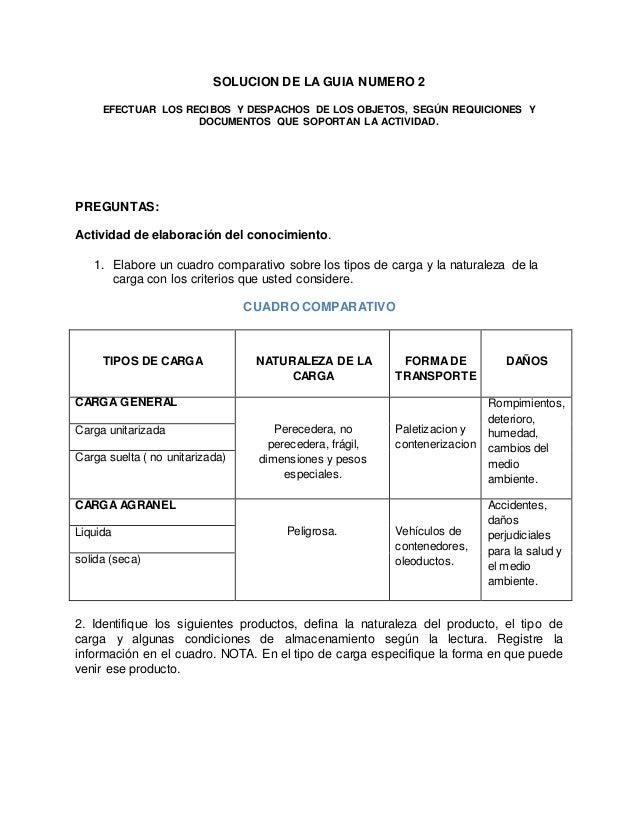 SOLUCION DE LA GUIA NUMERO 2 EFECTUAR LOS RECIBOS Y DESPACHOS DE LOS OBJETOS, SEGÚN REQUICIONES Y DOCUMENTOS QUE SOPORTAN ...