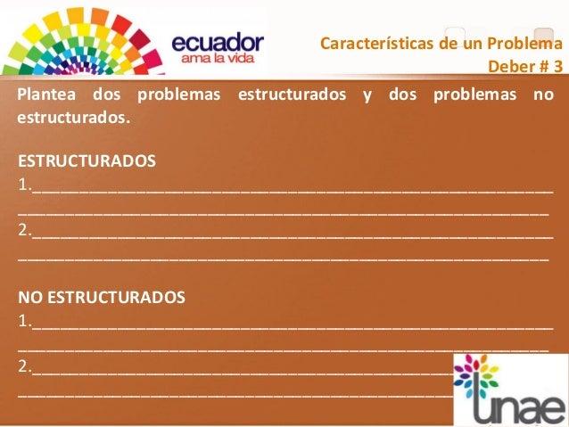 Características de un Problema Deber # 3 Plantea dos problemas estructurados y dos problemas no estructurados. ESTRUCTURAD...