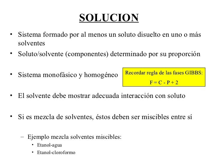 SOLUCION <ul><li>Sistema formado por al menos un soluto disuelto en uno o más solventes </li></ul><ul><li>Soluto/solvente ...
