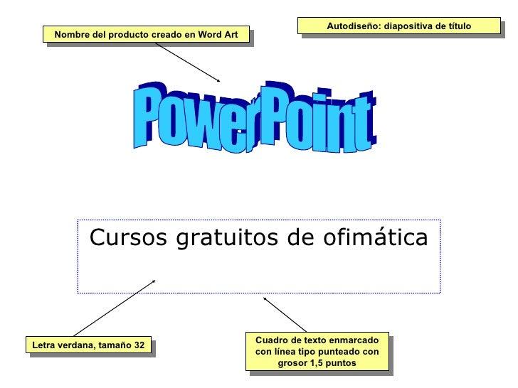 Cursos gratuitos de ofimática PowerPoint Nombre del producto creado en Word Art Letra verdana, tamaño 32 Cuadro de texto e...