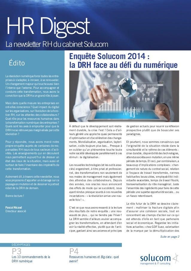 Enquête Solucom 2014 :  la DRH face au défi du numérique  À défaut que le développement soit réellement durable, la crise ...